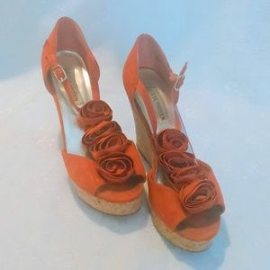 Steve Madden Fabric Flower Platform Wedge Heels